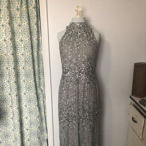 Adrianna Papell beaded gown pewter color